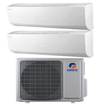 conjunto de aire acondicionado Gree FM 14 OU 4KW + 2 unidades interiores Lomo 9